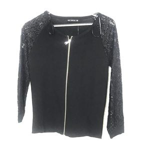 Zara knit black sweater lace sleeves zip up small